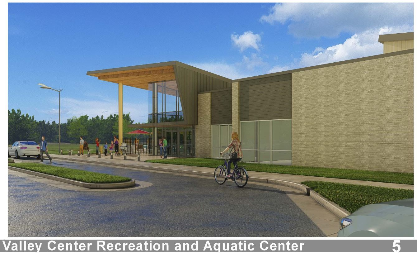 Exterior Rendering of the proposed Pool/Rec Center