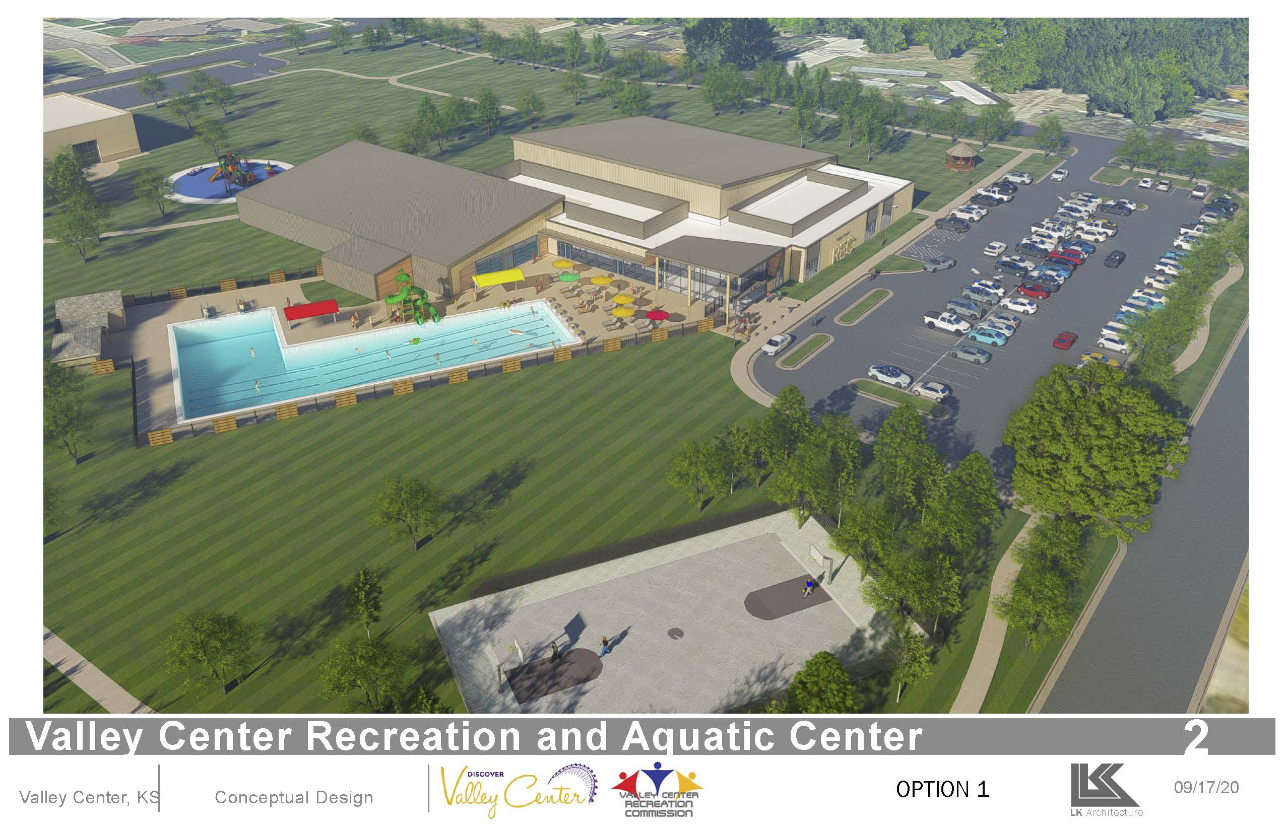 Outdoor Rendering of the proposed pool and rec center