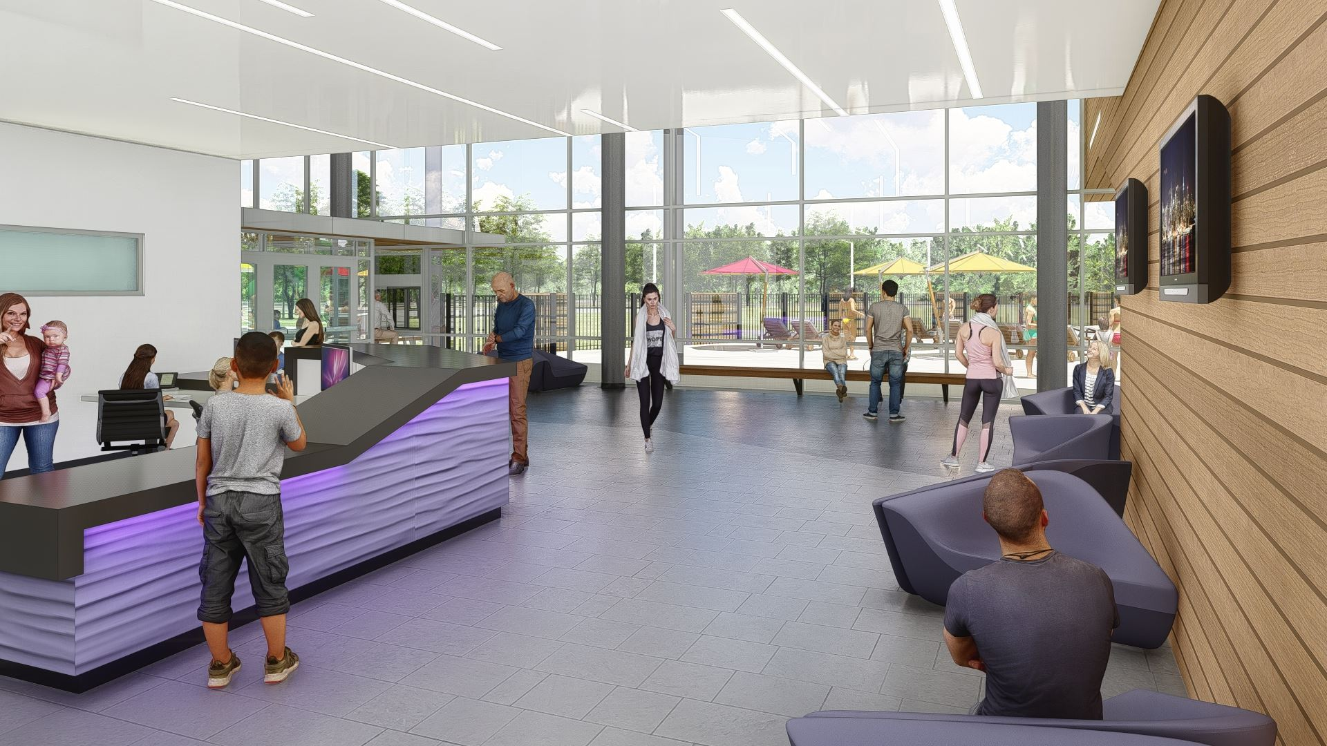 Front Lobby Rendering of the proposed Recreation Center